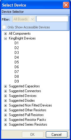 The Select Device dialog with the new KingBright category